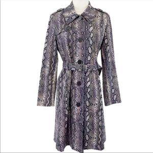Michael Kors Purple Snakeskin Print Trench Coat